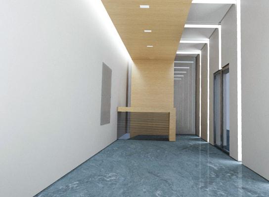エントランス・廊下に明るい照明を設置して安心感のあるビルに