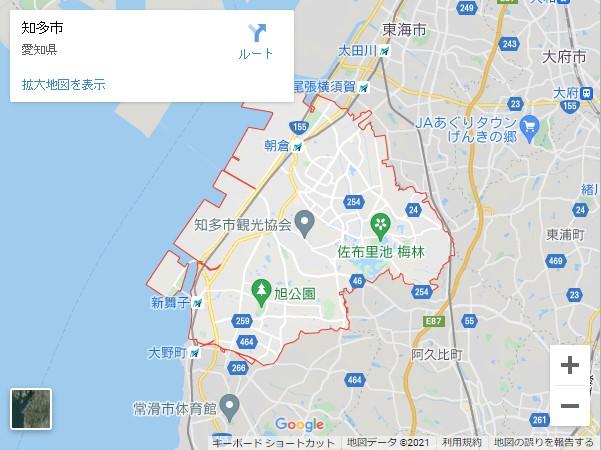 愛知県の市町村別貸店舗・テナントの家賃(坪単価)相場【知多市】