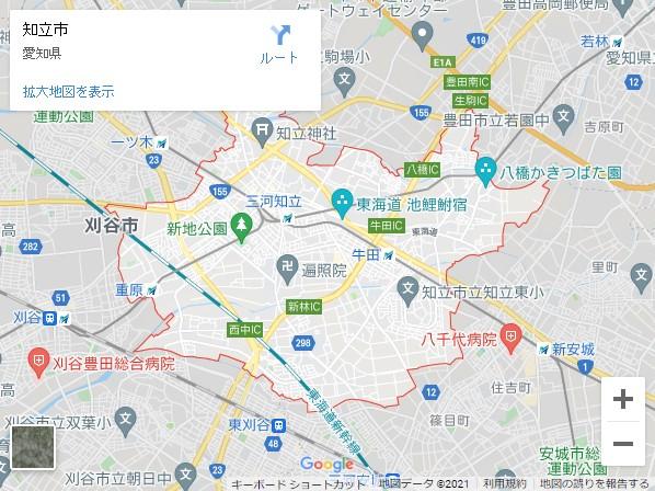 愛知県の市町村別貸店舗・テナントの家賃(坪単価)相場【知立市】